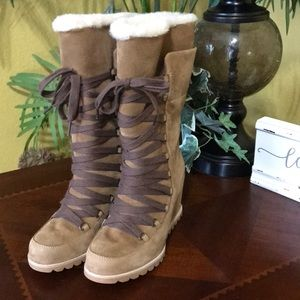 UGG Chestnut Mason Lace Up Wedge Heeled Boots